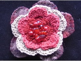 Red Beaded Cotton Crochet and Wool Felt Flower