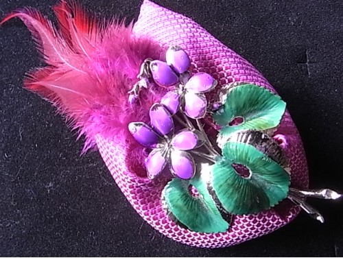 Pink Feathers and  Flower Vintage Brooch Corsage