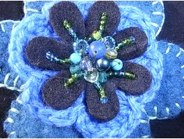Blue wool felt & crochet flower beaded corsage