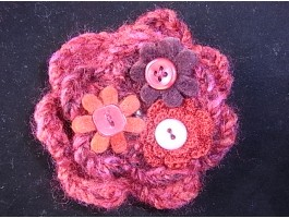 Red Crochet  Wool  Flower and Button Corsage